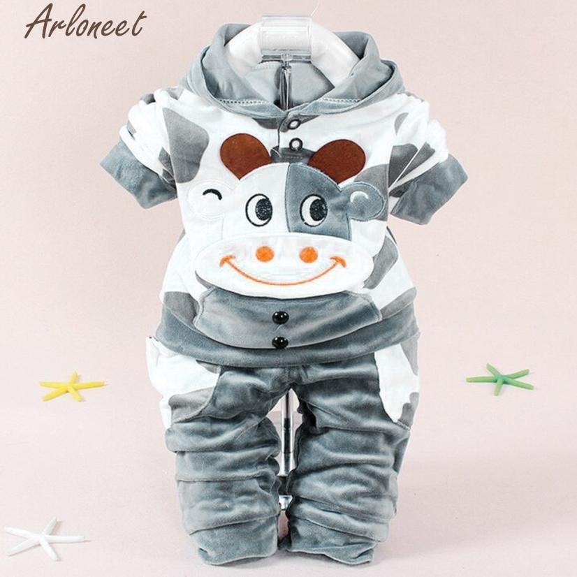 ARLONEET Clothing Set Warm Newborn Baby Girls Boys Cartoon Cow Warm Outfits Clothes Velvet Hooded Tops Set P30 Dec01
