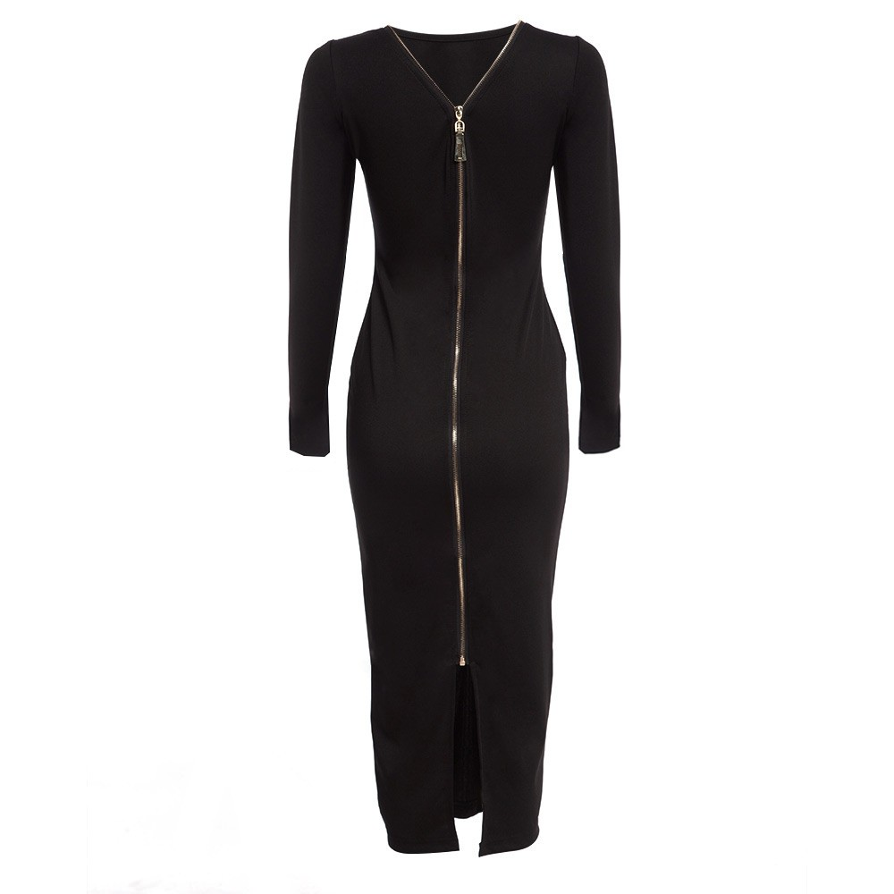VESTLINDA Plus Size Robe Sexy Femme Midi Sheath Bodycon Dress Long Sleeve Elegant Dresses Women Back Zipper Pencil Tight Dress 19