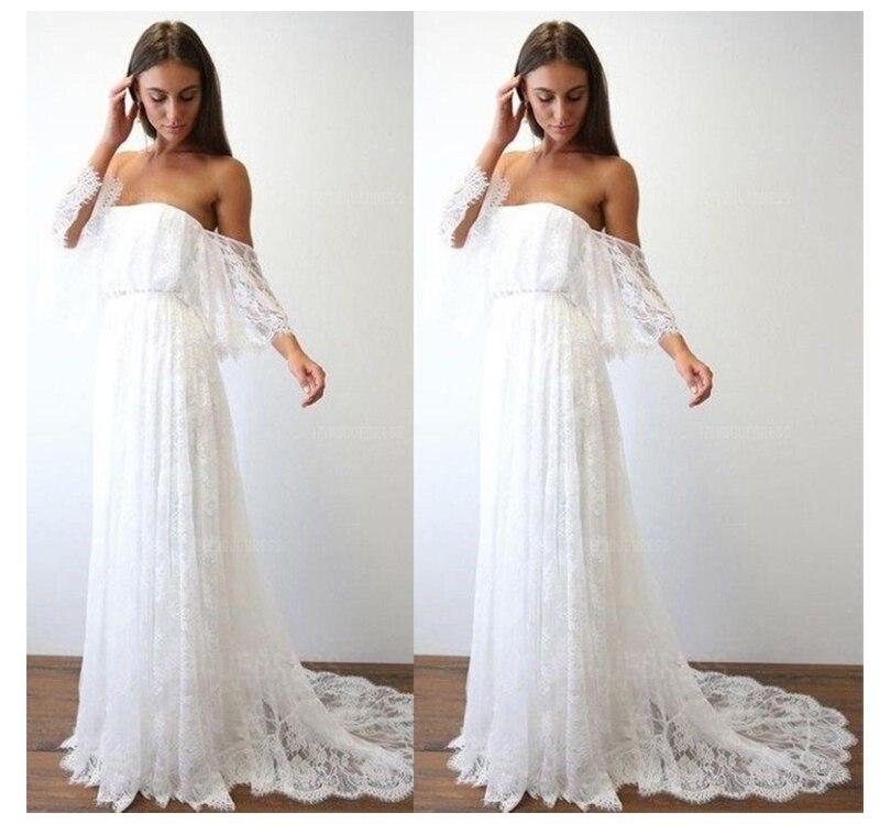 Boho Beach Wedding Dress 2019 Off The Shoulder Lace Top A