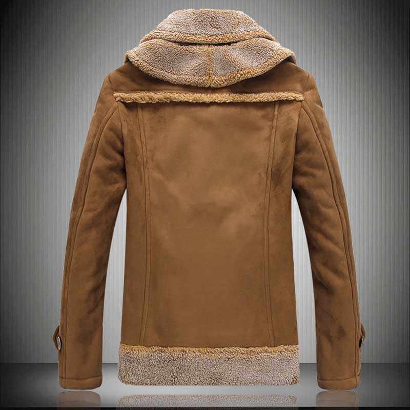 TANGNEST 2019 Winter Mens Fur One Coat Suede Large Size Lamb Fur Lapel Warm Jacket Coat Slim Asian size 5XL MWD064