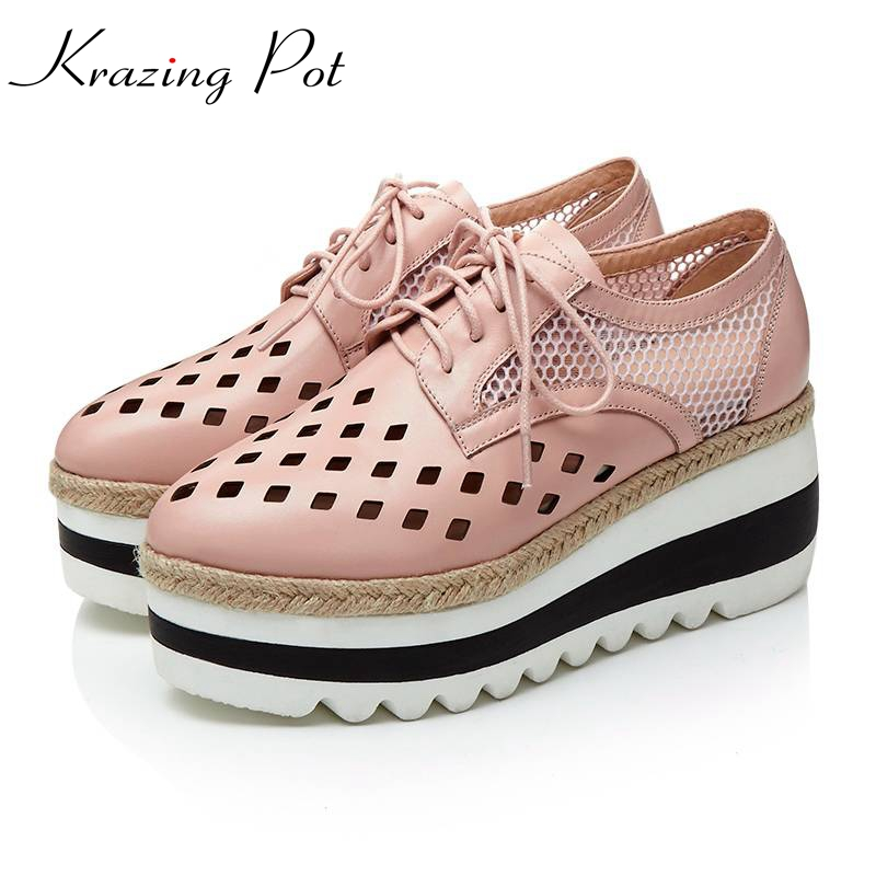 2017 superstar high heels women brand shoes wedges genuine leather hollow lace up round toe platform increased Oxford shoes L7f9 кружка мини сувенирная 20мл фарфор