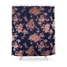 CHARM HOME Modern Elegant Navy Blue Faux Rose Gold Floral