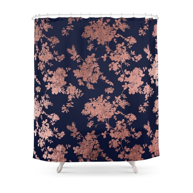 Modern Elegant Navy Blue Faux Rose Gold Floral Shower Curtain Waterproof Bathroom Curtains