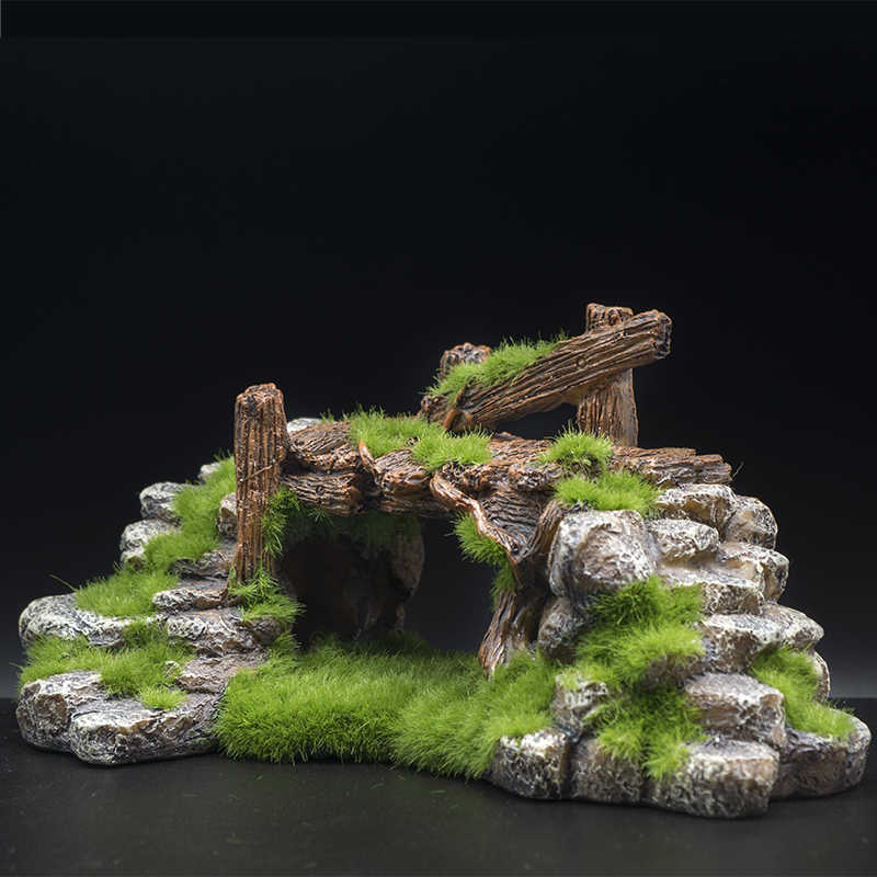 Best Life for Fish Resin Moss Bridge Fish Play Cave Decor for Fish Tank Aquarium Ornament