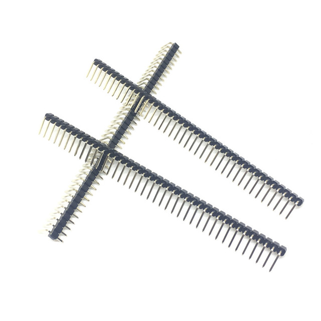 Hot Sale 10pcs 40 Pin 1x40 Single Row Male 2.54mm Breakable Pin Header Right Angle Connector Strip bending
