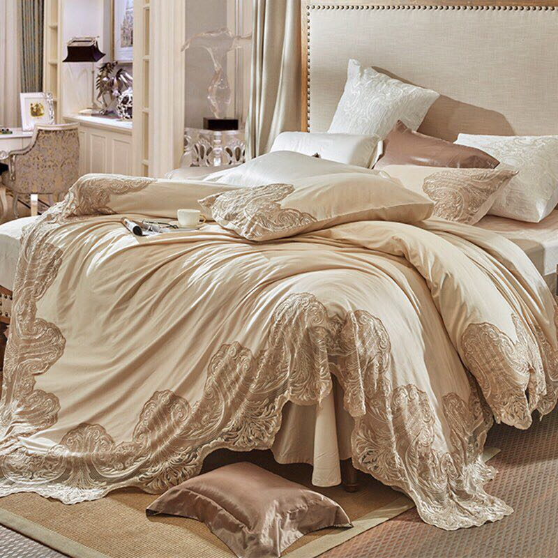 Champagne color French Style luxury lace embroidery 100S Egyptian cotton Bedding Set Duvet Cover Bed Linen Bed sheet Pillowcases