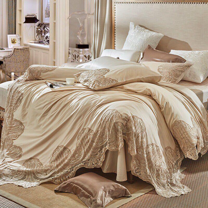 Couleur Champagne Style français luxe dentelle broderie 100 S coton égyptien ensemble de literie housse de couette linge de lit draps taies d'oreiller