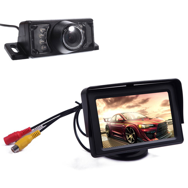 """Câmera sem carro 4.3 """" TFT LCD retrovisor estacionamento monitores para DVD GPS reversa de Backup câmera veículo condução acessórios"""
