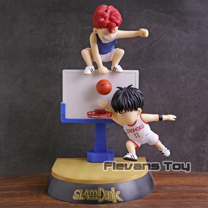 Slam Dunk Hanamichi Sakuragi & Rukawa Kaede PVC Figure Collectible Model Toy 25cm play basketball rukawa kaede nba toy slam dunk hanamichi sakuragi animation pvc action figure collection model toys