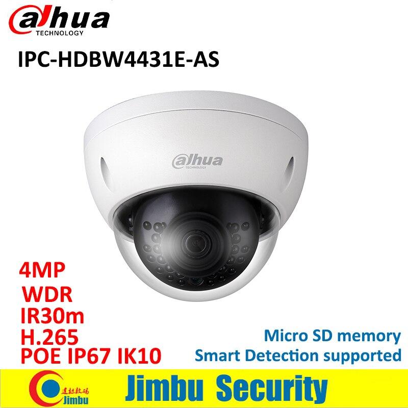 Dahua IP Dome camera Micro SD memory IPC-HDBW4431E-AS 4MP POE IK10 IR30m mini H.265 camera IP67 WDR alarm/audio in and out ONVIF wholesale dahua dh ipc hdbw4233r as 2mp ir mini dome network ip camera ir poe audio sd card stellar h265 h264 ipc hdbw4233r as