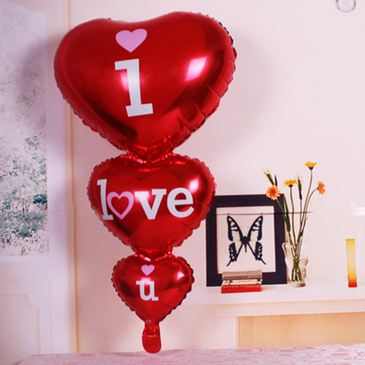 1pc Big i love u Connected Heart Shape Helium Foil Balloons Valentine's Day Wedding Happy Birthday Party DIY Decorations Balloon