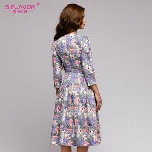 Image 4 - S, SMAAK vrouwen Herfst Winter dress hot koop Casual Stijl afdrukken lange jurk voor vrouwelijke O hals lange mouw losse vestido