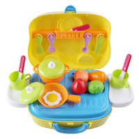 Surwish Kids Kitchen Wares Kit Pretend Play Toy with Handy Suitcase Educational Toys Yellow
