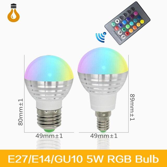 2017 NIEUWE E27 RGB LED Lamp 16 Kleuren Veranderen Lampada Led ...