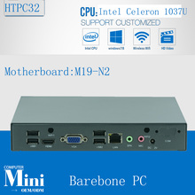 Barebone Fanless Mini Computer Desktop PC Intel Celeron 1037U HTPC Alloy Case with 6*USB