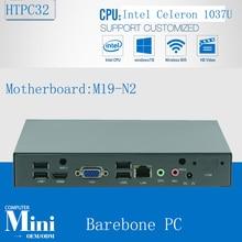 Barebone Fanless Mini Computer Desktop PC Intel Celeron 1037U HTPC Alloy Case with 6*USB