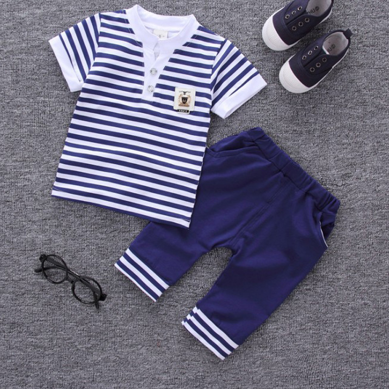 2017 children summer clothing kids casual Striped T-shirt+ pant 2Pcs/set boys fashion summer sets.