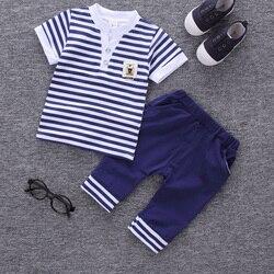2018 children summer clothing kids casual Striped T-shirt+ pant 2Pcs/set boys fashion summer sets.