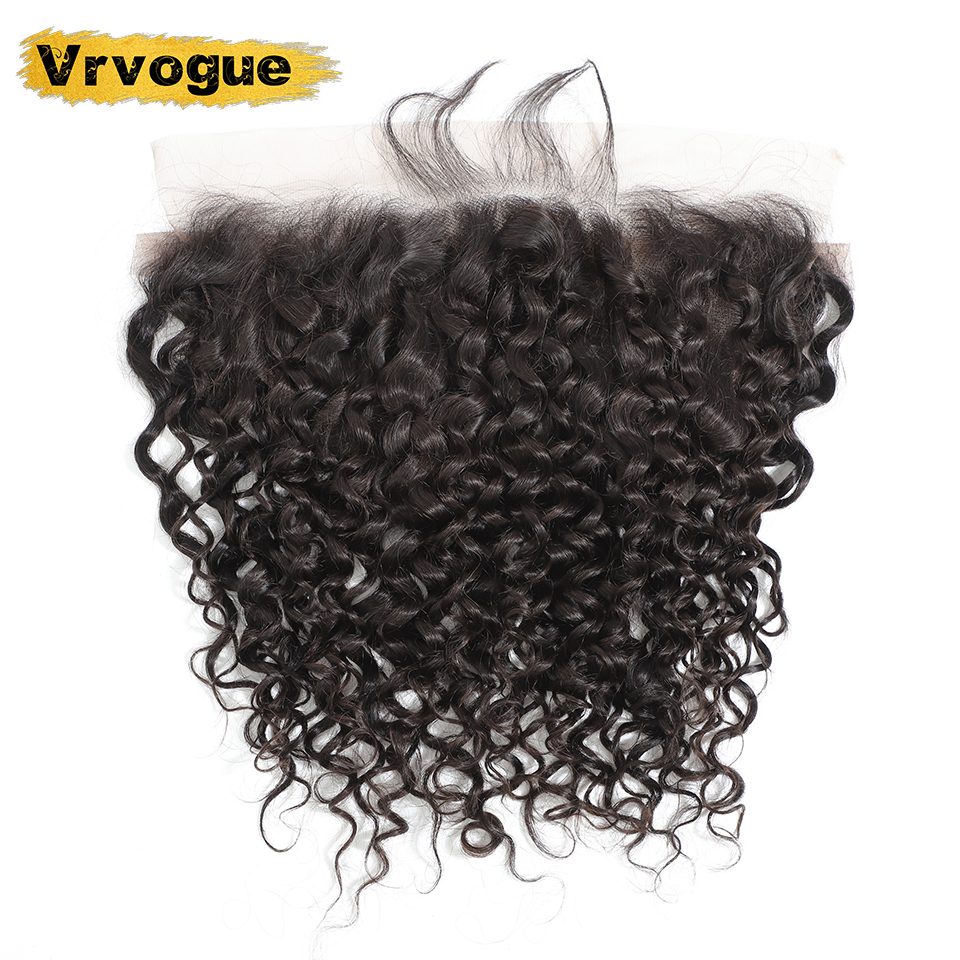 Image 2 - Vrvogue Hair Preplucked Brazilian Water Wave Frontal Natural Colour Remy Human Hair 13x6 Ear To Ear Lace Frontal Closure-in Closures from Hair Extensions & Wigs