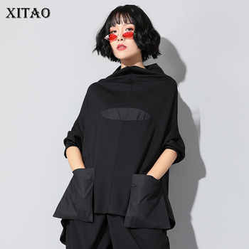 XITAO Harajuku Patchwork Pocket T Shirt Women Stand Collar Plus Size Casual Black Streetwear Female Stitch Korean Summer LYH2877 - DISCOUNT ITEM  56% OFF All Category
