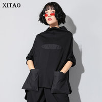 XITAO Harajuku Patchwork Pocket T Shirt Women Stand Collar Plus Size Casual Black Streetwear Female Stitch Korean Summer LYH2877