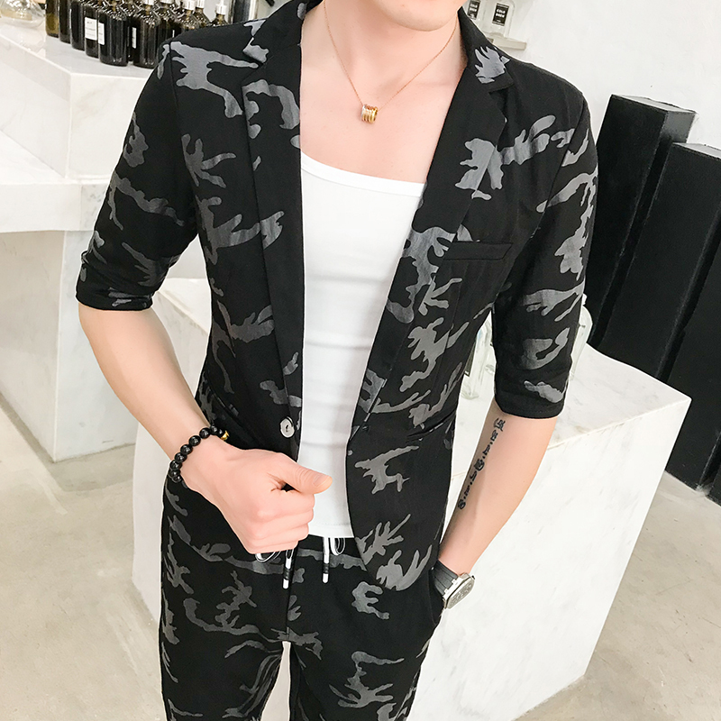 2018 Spring And Summer New Men's Suit Set Slim Personality Camouflage Printing Business Casual Fashion Temperament Tide