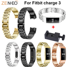 Fashion women's bracelet Stainless Steel Bands for Fitbit Charge 3 Metal watchbands Watch Strap for Fitbit Charge 3 Wrist Band high quality 2017 hot sale watchbands 23mm stainless steel wrist band bracelet strap for fitbit blaze smart watch straps bands