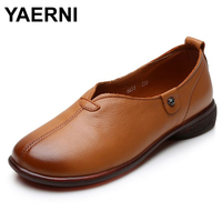 YAERNI Classic Women Flats New Comfort Genuine Leather Casual shoes Woman Retro soft bottom Flat with round head Loafers sneaker