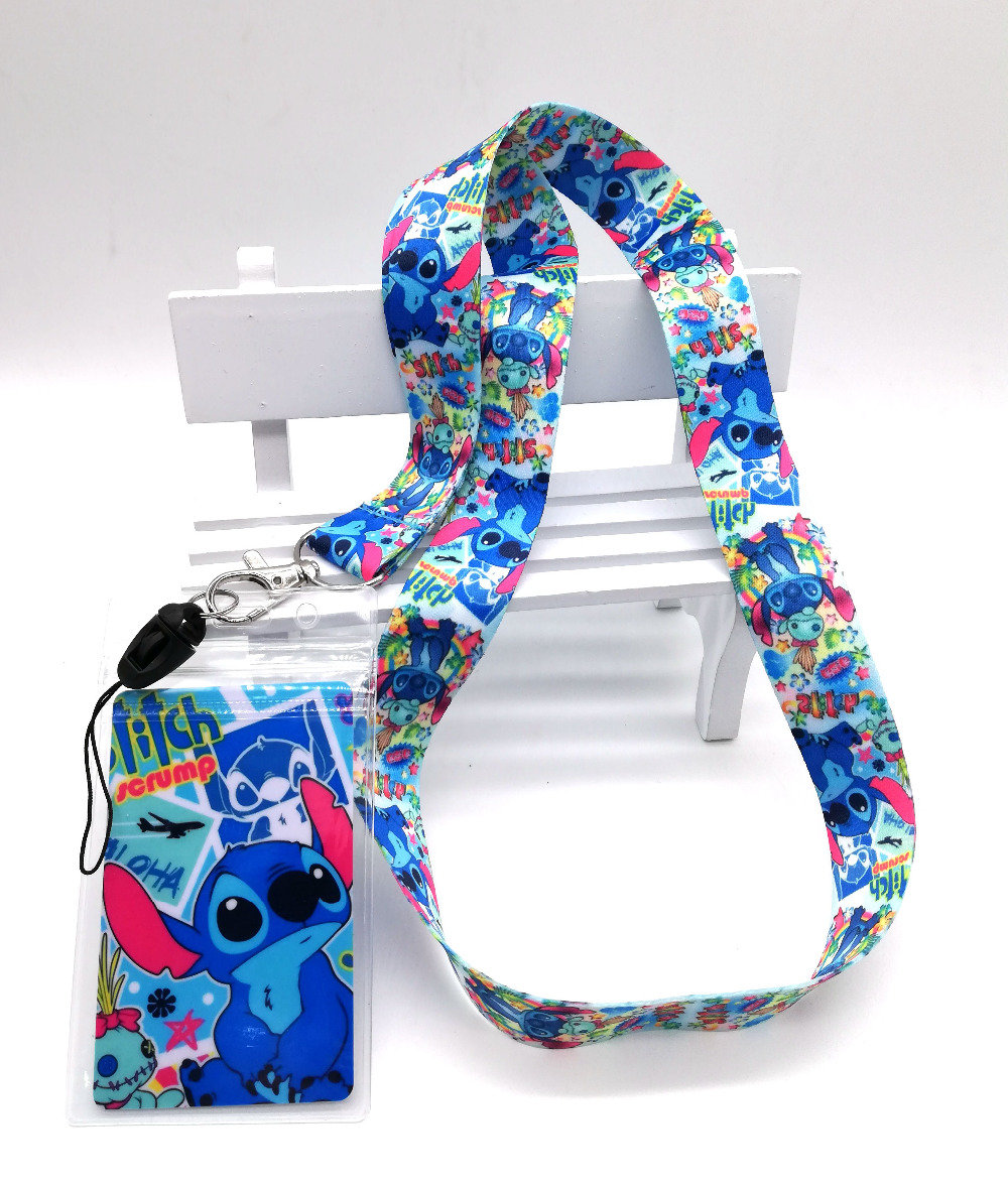 1 Pcs Stitch Lilo Neck Strap Lanyards Card Holders Bank Neck Strap Card Bus ID Holders  Rope Key Chain Gift K71