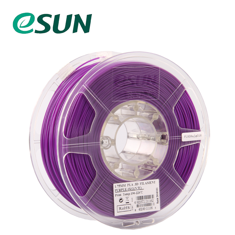 ESUN Purple 1.75mm PLA Filament 3D Printer Filament 1KG/SPOOL sunlu 3d pla printer filament 1 75mm polycarbonate filament 2 2lbs 1kg spool white color pla filament