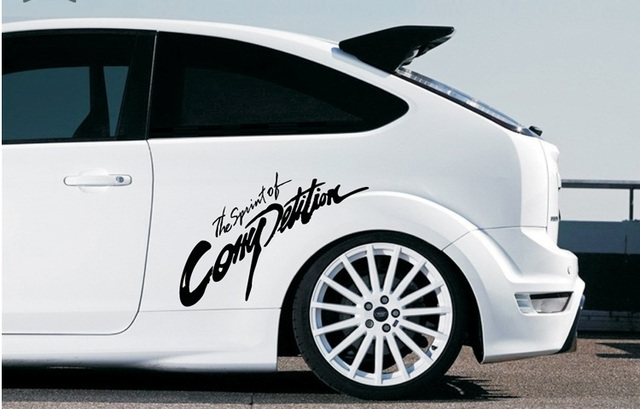 Custom car stickers personality side door posts movement sticker car hood letters white and black