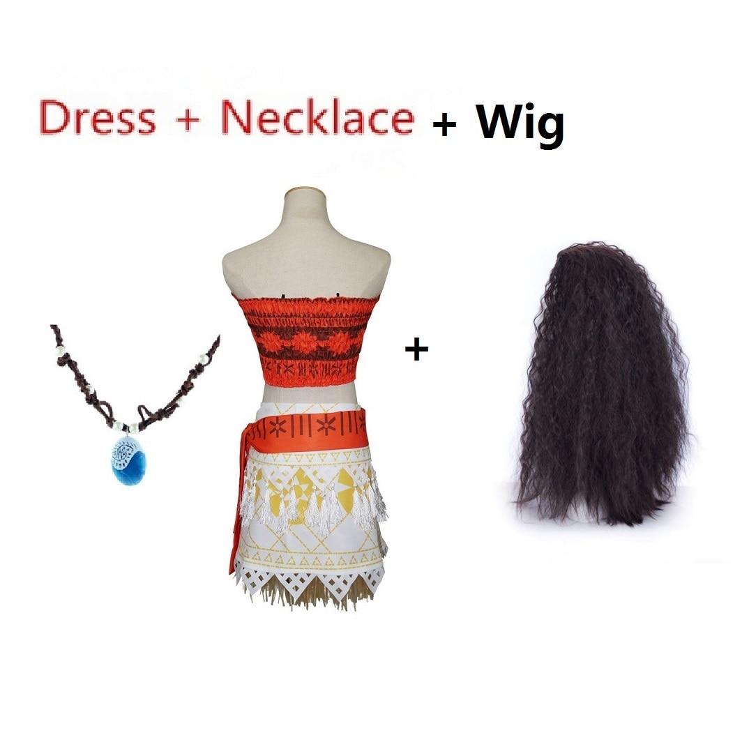 5a6bc5979020 Kostüme   Verkleidungen Adult Moana Princess Vaiana Fancy Dress Principessa  Costume Woman Necklace Wig