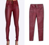 Plus Size High Waist European Leather Skinny Jeans Wine Red Pu Skinny Pencil Jeans Pantalon Mujer