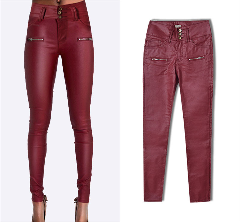 Plus size high waist european leather skinny jeans Wine red pu Skinny pencil jeans pantalon mujer sexy slim trousers 021809 plus size skinny high waist jeans