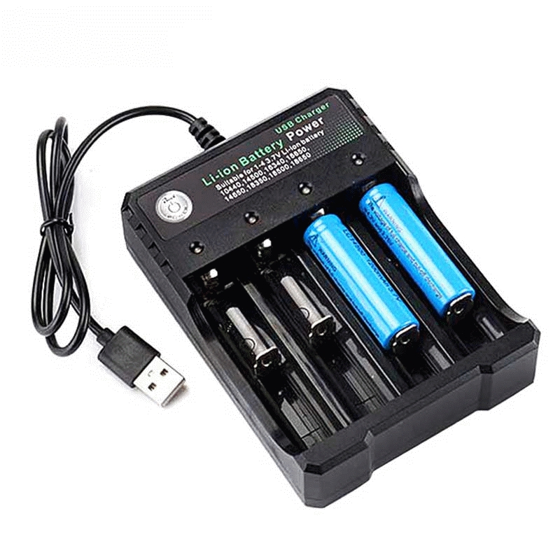 GTF 18650 Battery Charger Black 2 Slots AC 110V 220V Dual For 18650 Charging 3.7V Rechargeable Lithium Battery