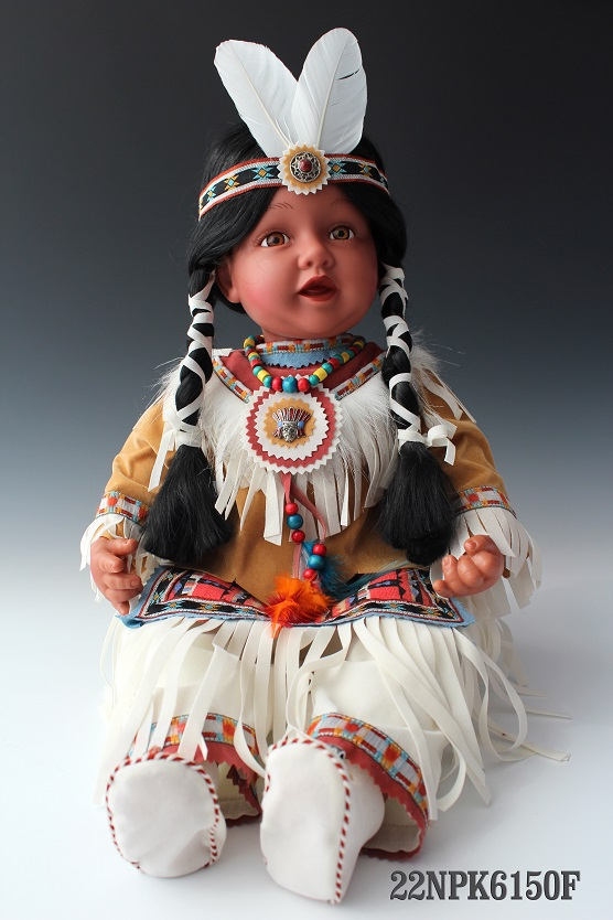 22 Inches Native American Baby Doll Girl Sitting Long