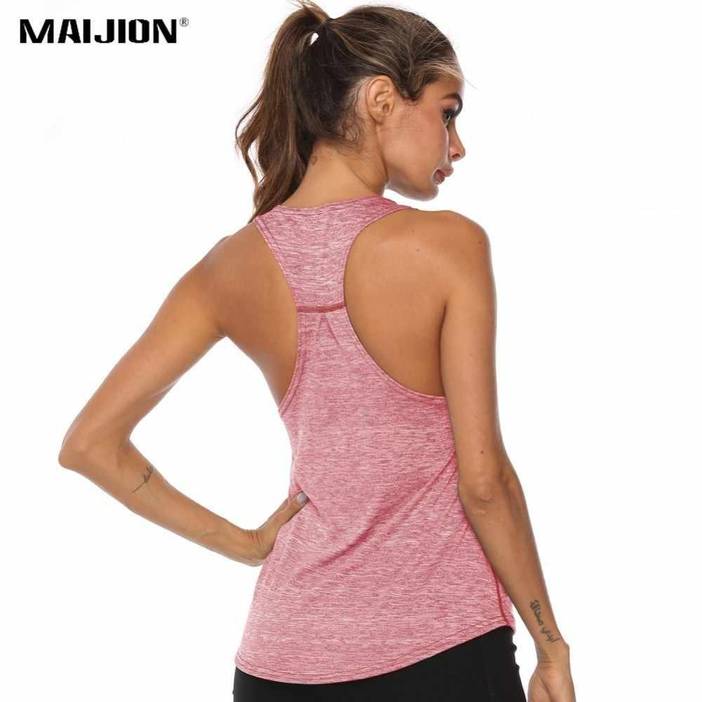 MAIJION Women Racerback Yoga Tank Tops Sleeveless Fitness Yoga Shirts Quick Dry Athletic Running Sports Vest Workout T Shirt