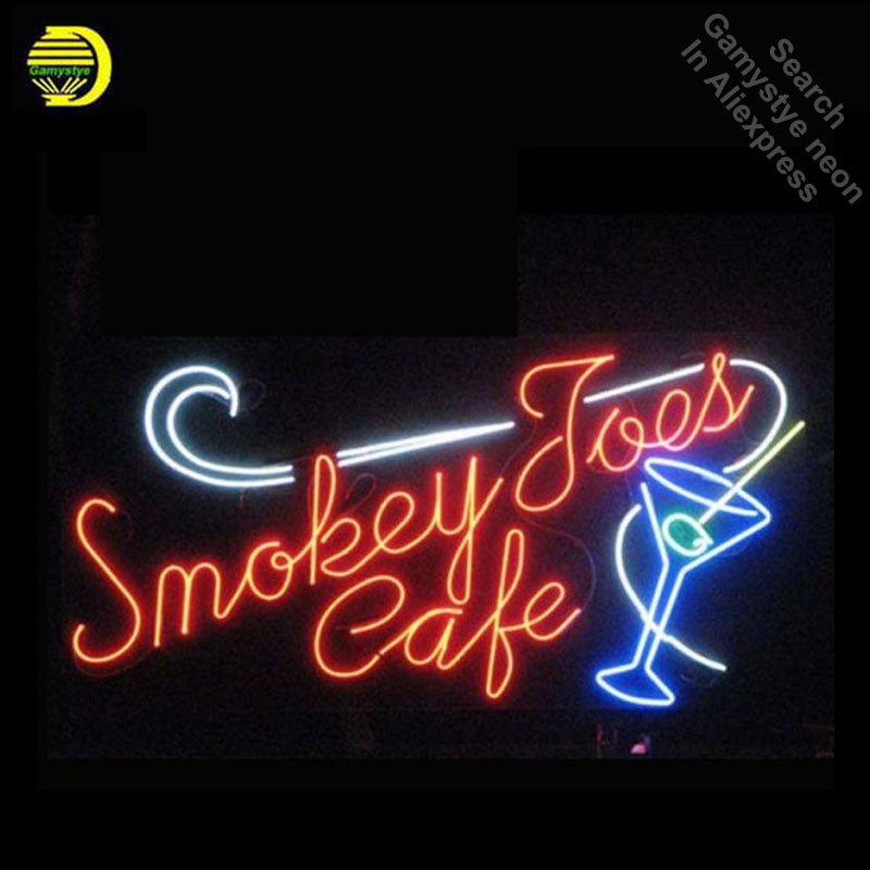 Smokey Cafe Neon Signs Signage Board Neon Bulbs Real GlassTube Handcrafted Restaurant Light Signs lamp Arts personalized neon