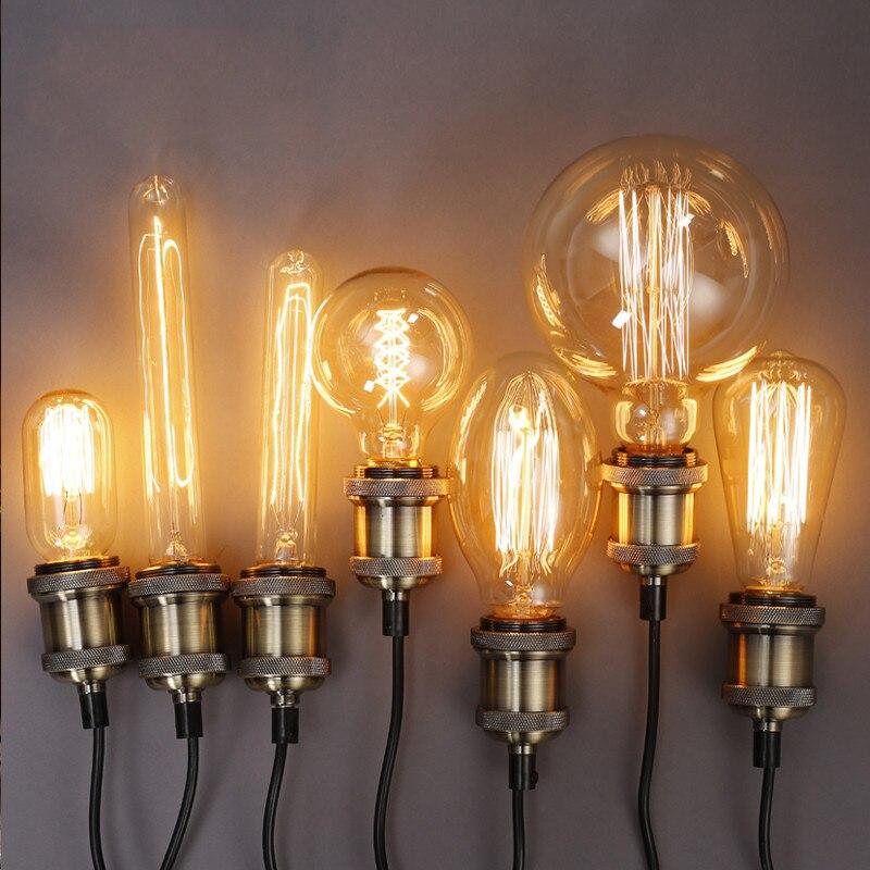 Edison Bombilla Luminaria Lámpara antigua Bombilla vintage industrial Lampada 220V 40W E27 Deco bombillas de iluminación Bombilla halógena GU10, 20W, 35W, 50W, Bombilla de gran brillo, 2800K, luces de cristal transparente de alta eficiencia, bombillas de luz blanca cálida para el hogar