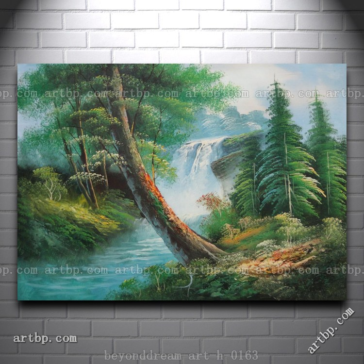 Waterfall and cascades down from green alpine forest oil for How to paint glass with oil paint