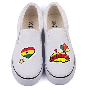 Image 2 - E LOV クリエイティブポップアートアフリカ国ガーナ旗カスタマイズキャンバスシューズデザイナー Ghanaian プラットフォーム靴 Chaussures ファム