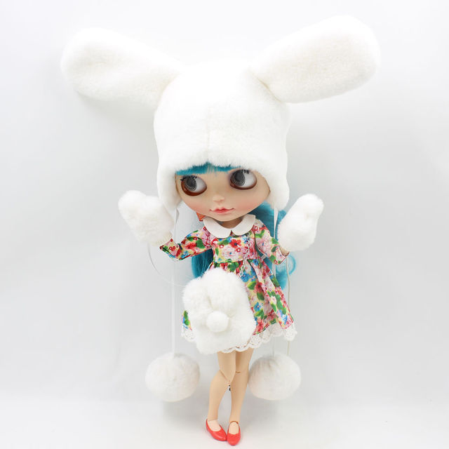Neo Blythe Doll Snow Fluffy Hat & Gloves & Bag