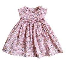 חדש קיץ ילדים שרוולים אנגליה בעבודת יד חלוק חגורת Bowknot פרחוני מודפס קטן בנות 9M 36M נסיכת אפוד שמלות