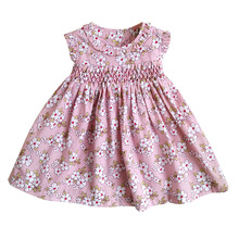 New Summer Kids Sleeveless England Handmade Smock Belt Bowknot Floral Printed  Little Girls 9M 36M  Princess Vest Dresses