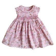 Nowe letnie dzieci bez rękawów anglia ręcznie Smock pas Bowknot kwiatowy drukowane małe dziewczynki 9M 36M księżniczka kamizelka sukienki