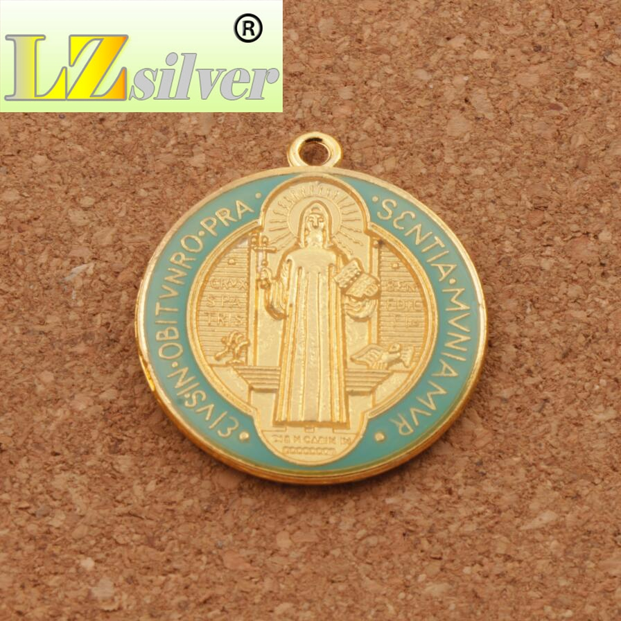 Enamel Saint Benedict Medal Cross Crucifix Smqlivb Spacer Beads 2pcs - Perhiasan fesyen - Foto 2
