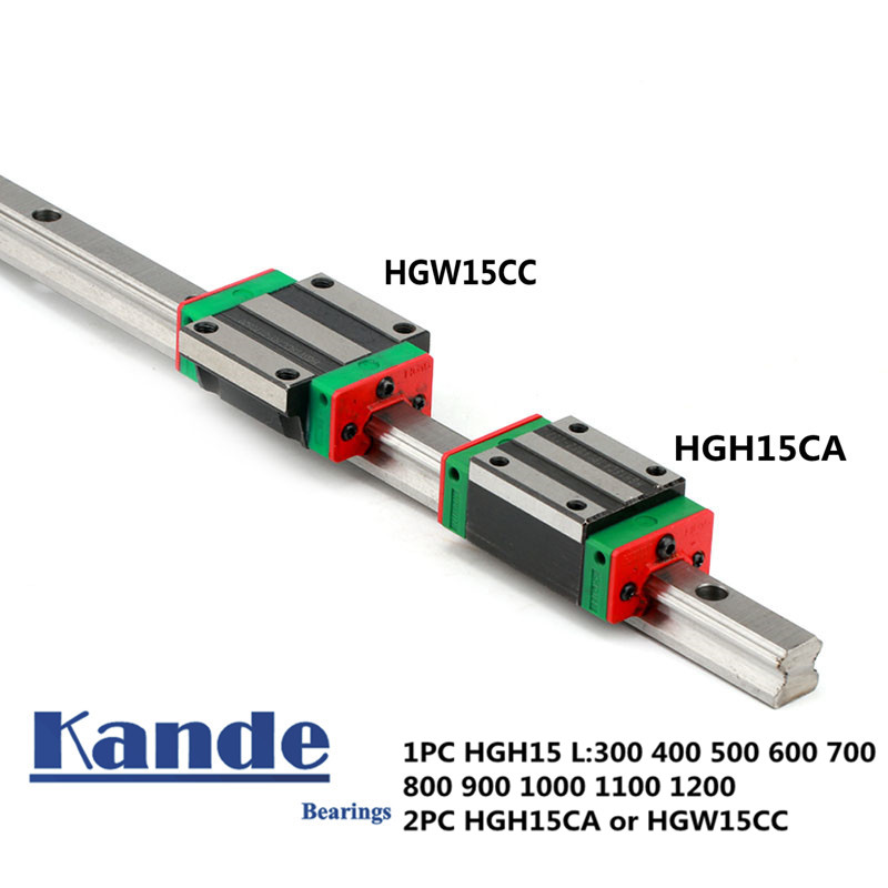Точность железнодорожных 1 шт. HGH15 линейной направляющей + 2 шт. HGH15CA блок или HGW15CC Фланец Блок L 300 400 500 600 700 800-1200 мм для ЧПУ
