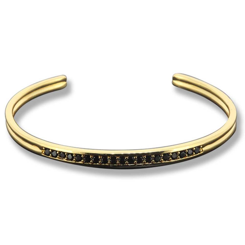 Famous Brand Anil Arjanda Men Bangles Micro Pave Black CZ & 24K Gold Cuff Bangles Open Bangle Bracelets For Men Valentine's GIFT