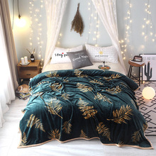 New Soft Warm Coral Fleece Plush Throw Blanket Bed Rug Portable Plaids Leaves pattern Kids Christmas Gift Bedspreads sofa cover christmas bells printed coral fleece nonslip bath rug