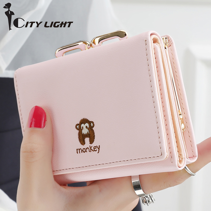 New Fashion Lovely Money Pattern Women Wallets Short Hasp PU Leather Money Bag Wallet Ladies Clutch Cute Coin Purse Card Holder youyou mouse fashion cute wallet cartoon embroidery pattern retro purse short section pu leather 2 fold multi card bit wallets